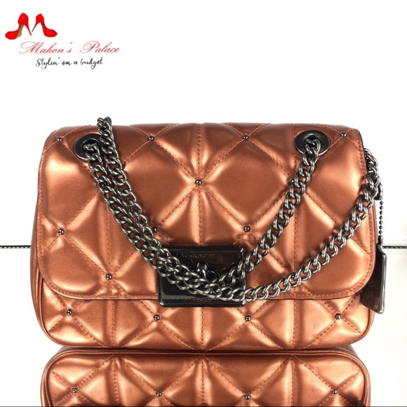 Coach Handbags - Coach Cassidy Quilted Bronze Chain Strap Crossbody